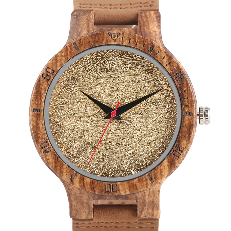 Creative Shiny Weave Bamboo Wood Watch Nature Analog Quartz Cool Men Wristwatch Women Leather Strap Bracelet Handmade Clock Gift Fashion (4)