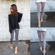 Fengguilai New High Street Style Women Faux Suede Leggings Pencil Warm Winter Slim Skinning Trouser Stretch Pants