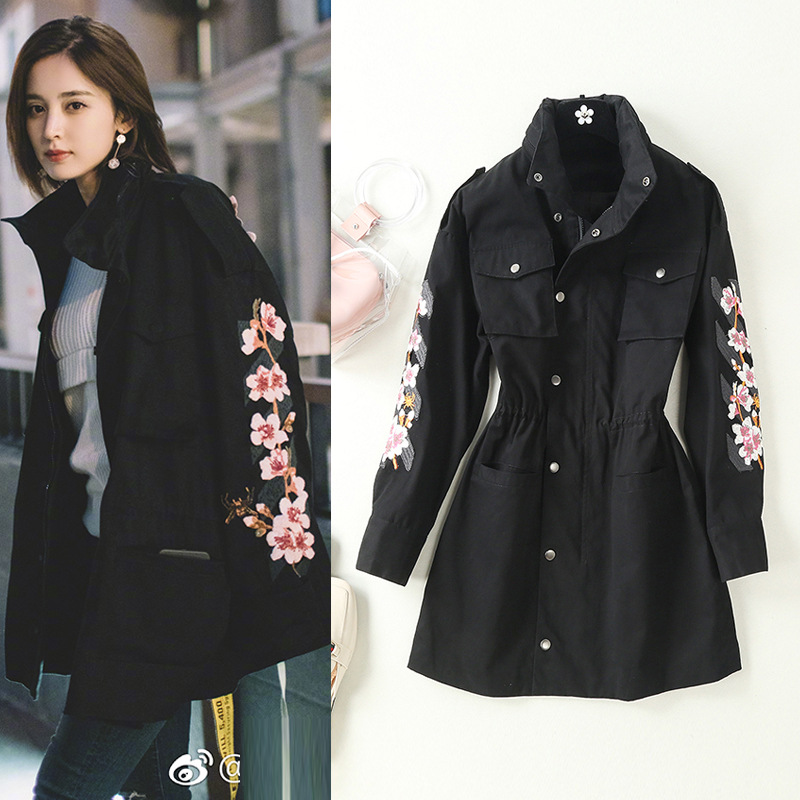 Trench Embroidered Autumn Women's New with National-Style Baseball-Suit of