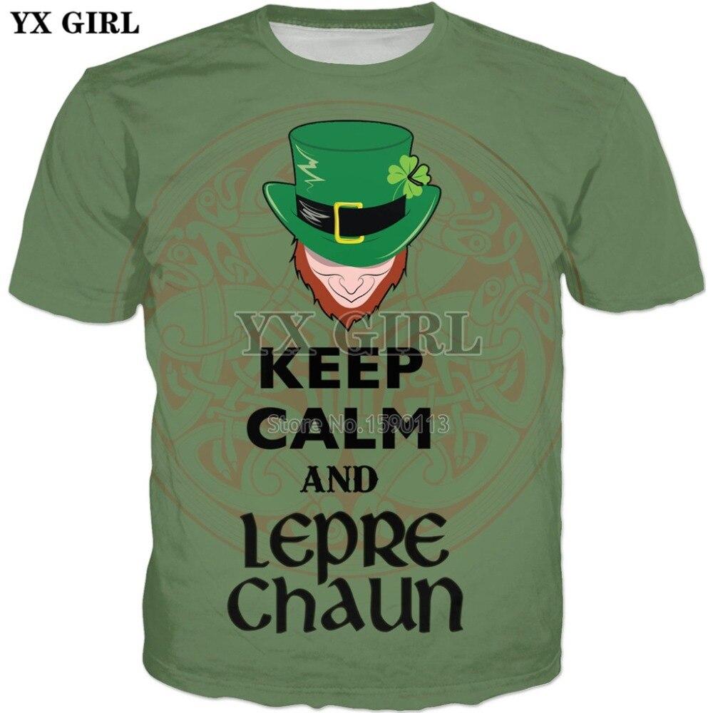 YX GIRL Keep Calm and Leprechaun Green T-Shirt  Men/Women 3d Print TShirts Summer Tops Tees Fashion 3d shirts