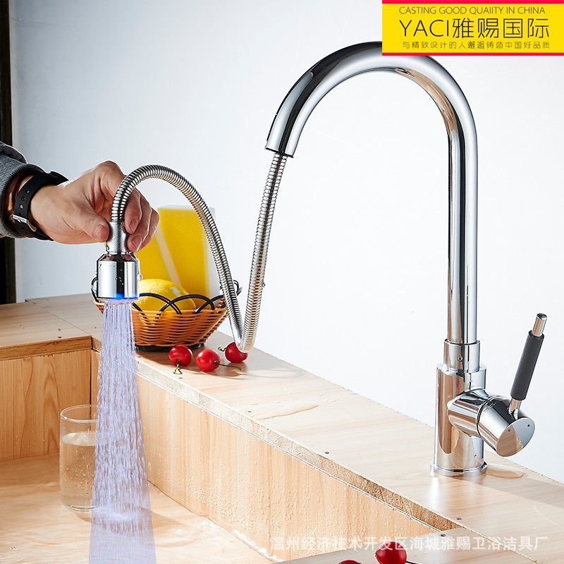 Vidric new LED pull kitchen faucet All copper, LED hot and cold export kitchen faucet, basin mixer tap