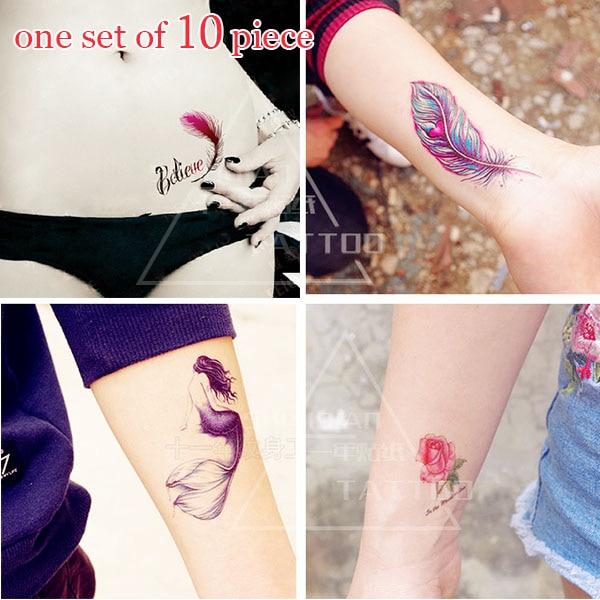 Geçici Dövme Çıkartma Kiraz Cerasus sakura dövmeler Lotus Tüyler Gül Çiçekler Seks Dövme Dayanıklı su geçirmez dövme Etiket