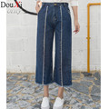 Plus Size S-XL Women Quality Wide Leg Jeans women Fashion Full Length Big Straight Denim trousers Boot Cut Flares Pants