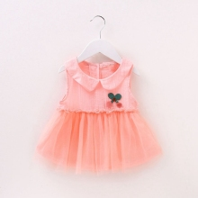 Baby Girls Sleeveless Peter Pan Collar Cherry Infant Princess Party Tutu Summer Dress Kids Sundress vestido infantil