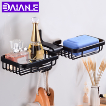 Black Soap Dish Storage Holder Aluminum Bathroom Double Wall Mounted Decorative Dishes Box with Hooks Creative