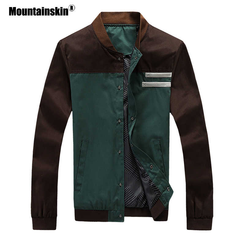 Mountainskin 4XL جديد الرجال السترات الخريف العسكرية الرجال المعاطف موضة سليم سترات رجالي ملابس خارجية الذكور زي بيسبول SA461