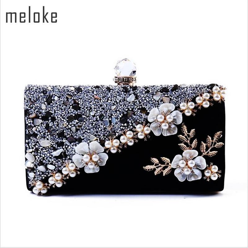 Meloke 2019 High Quality Women Diamond Patchwork Evening Bags Handmade Flowers Wedding Dinner Bags Drop Shipping MN834