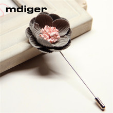 Mdiger Multi-Color Flower Brooch Lapel Flower Pin for Men Suits Collar Brooches Corsages for Women Wedding Boutonniere Jewelry