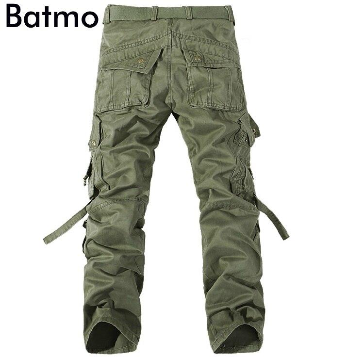 Batmo 2018 l'arrivée de nouveaux de haute qualité coton de nombreuses poches armée vert pantalon cargo hommes, hommes de pantalon occasionnel 6 couleur plus-taille 28-40