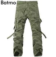 Batmo 2017 New Arrival High Quality Cotton Many Pockets Army Green Cargo Pants Men Men S