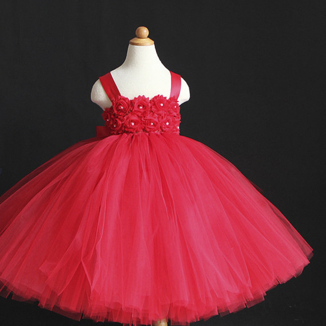 Red Flower Girl Dress Christmas Party Baby Tutu Birthday Girls Set Toddler Clothing