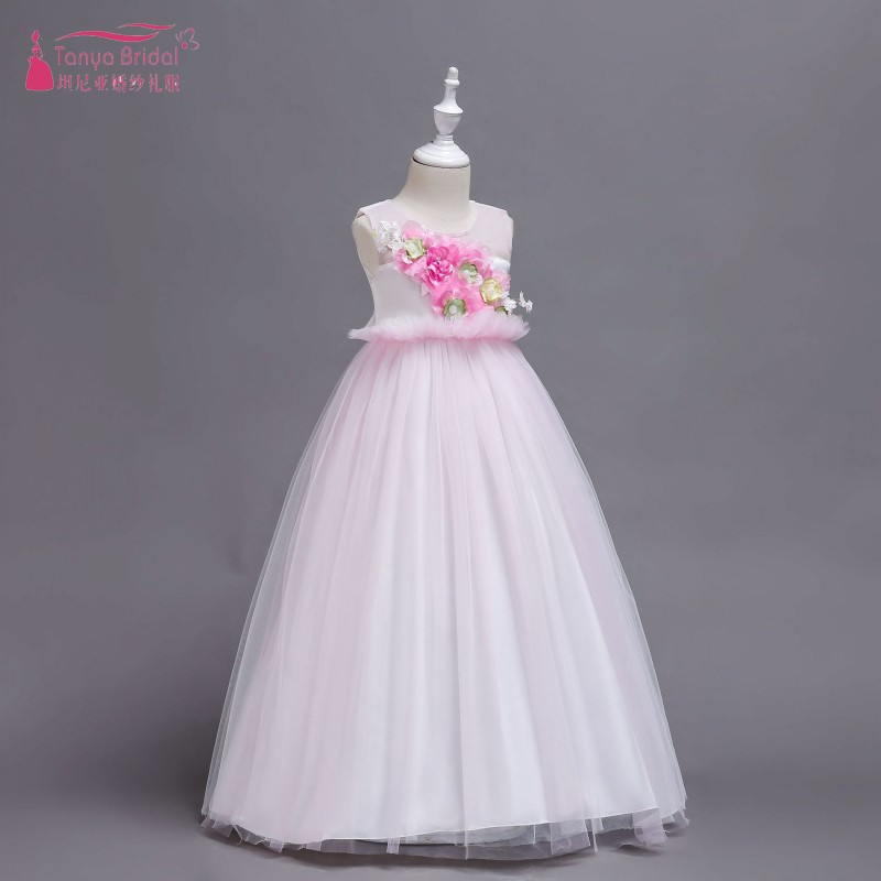 Baby Pink Lovely   Flower     Girls     Dresses   Little Kids Birthday Party Gowns first communion   dresses   for   girls   vestido daminha ZF107