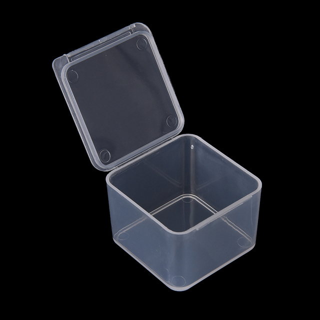 1PC Plastic Boxes Packaging Storage Box Transparent Small Square With Lid  For Jewelry Storage Accessories Finishing