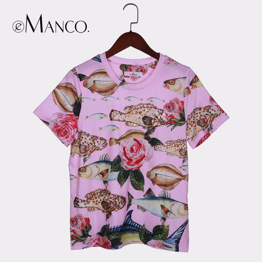 E-Manco e-Manco Mignon Rose Harajuku À manches Courtes chemises de 2018 femmes D'été top modèle Coréen T-shirt avec paillettes Fleur et Poissons