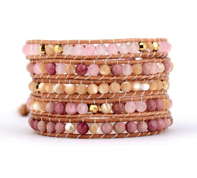Quality Natural Stones Leather Wrap Bracelets Wholesale Handmade Bohemian Boho Bracelet Yoga Dropshipping Fashion Bracelet