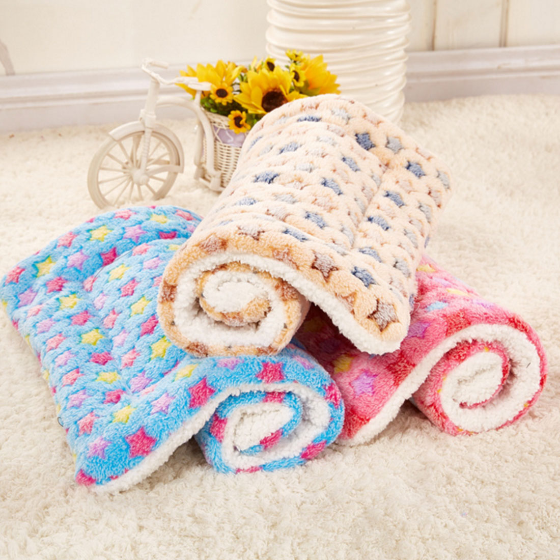 Cat Bed Rest Dog Blanket Winter Foldable Pet Cushion Hondenmand Coral Cashmere Soft Warm Sleep Mat Sweet Dream Bed