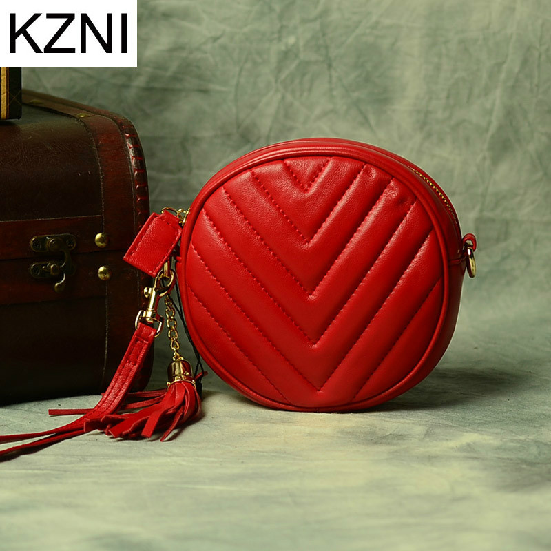 KZNI Genuine Leather Purse Crossbody Shoulder Women Bag Clutch Female Handbags Sac a Main Femme De Marque L102816 hobos bags handbags women famous brand female high quality leather shoulder bag women crossbody bag sac a main femme de marque