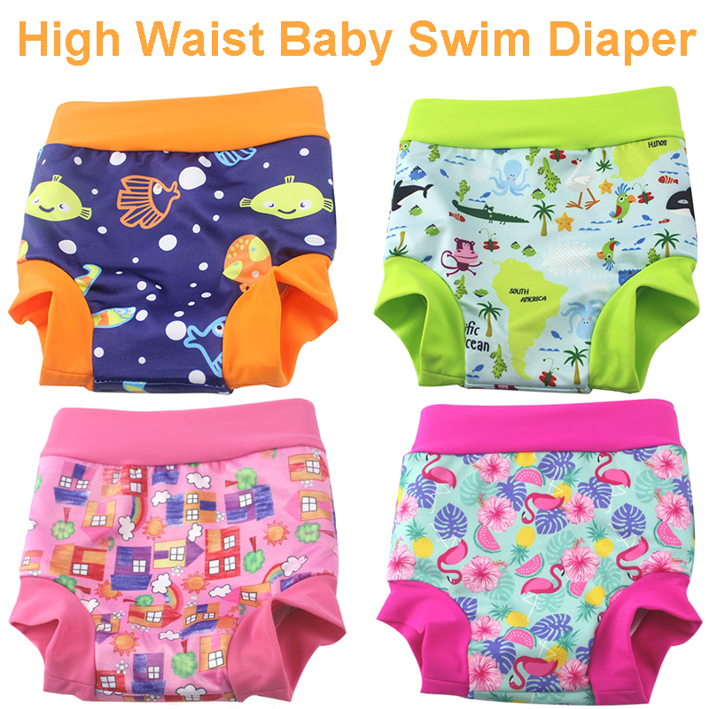 High Waist Baby Cloth Diaper Reusable Printed Trunks Kid Infant Washable Nappies High Quality Pool Pant Baby Swim Diaper Nappy