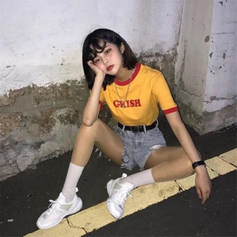 Grish Letter Printed Short Sleeved Cute T shirt 90s Women Yellow O Neck Ulzzang Harajuku V