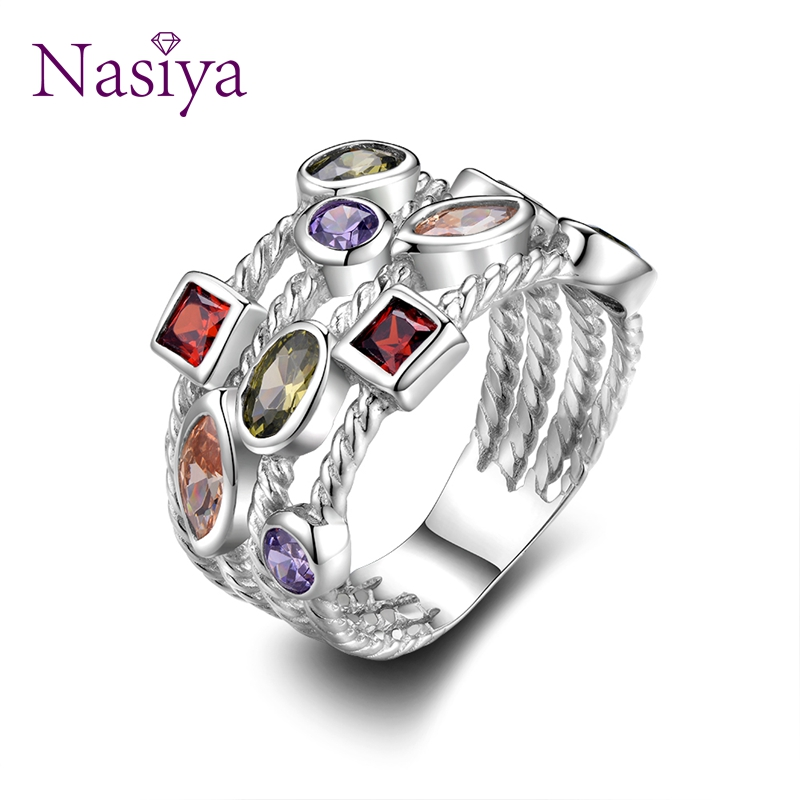 Nasiya 100% Genuine Silver 925 Jewelry Rings For Women Multiple Colorful Gemstones Wedding Ring Luxury Engagement Gift