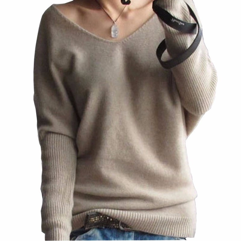 386eecad1304 2018 Automne Hiver Pull En Cachemire Femmes Mode Sexy Pull Col V Lâche  Laine Pull Femme À Manches Longues pull Chandail