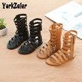 Летняя детская обувь в римском стиле для девочек; Детские сандалии из искусственной кожи с высоким берцем; Нескользящая повседневная обувь ...