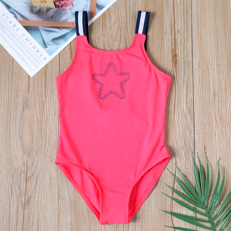 Star kids swimsuit Girls One-piece Swimsuit Girls Small Children Girls Cute Children Baby Striped Swimwear Wholesale sw103(China)