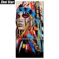 Full Square Diamond 5D DIY Diamond Painting 3pcs Indians Feathered Embroidery Cross Stitch Rhinestone Mosaic Painting