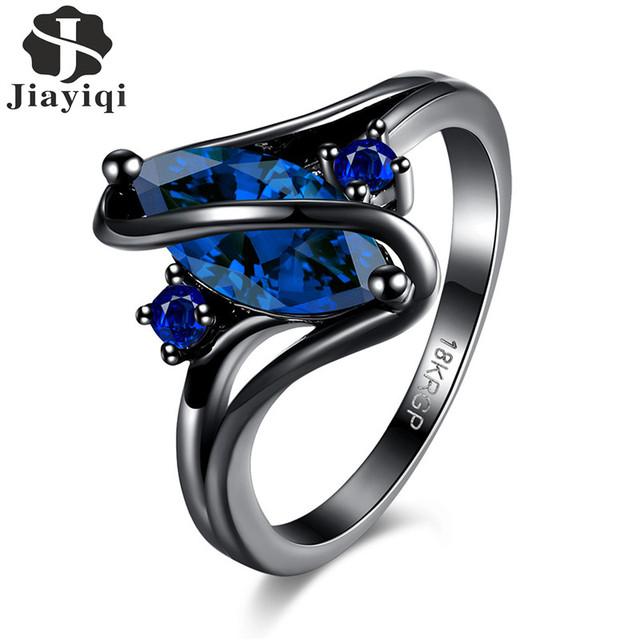 Crystal Cubic Zircon Black Ring