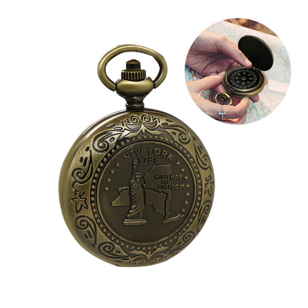 Vintage Bronze Compass Design Pocket Watch Retro Men's And Women's Statue Of Liberty Retro Pocket Watch Compass