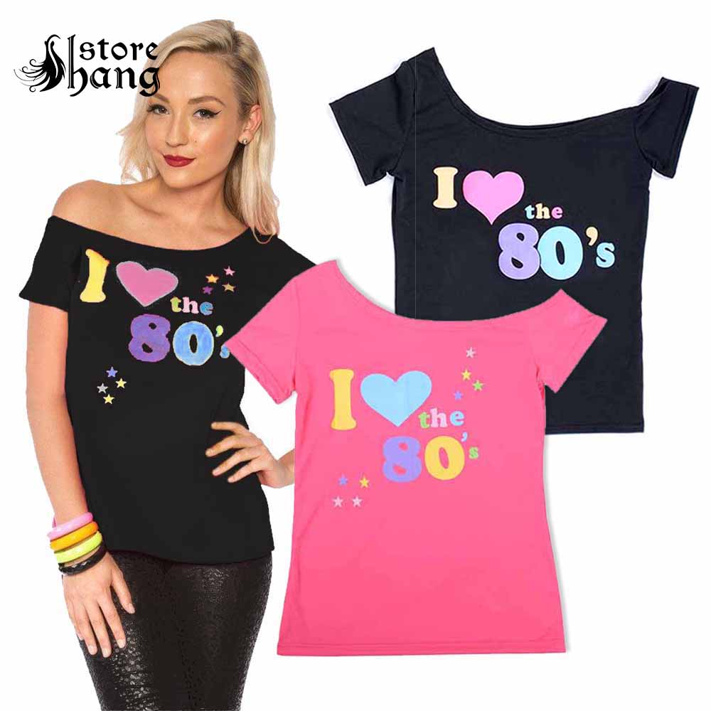 Ladies Womens I Love the 80s Fancy Dress Hen Party Retro T-shirt Top Plus Size