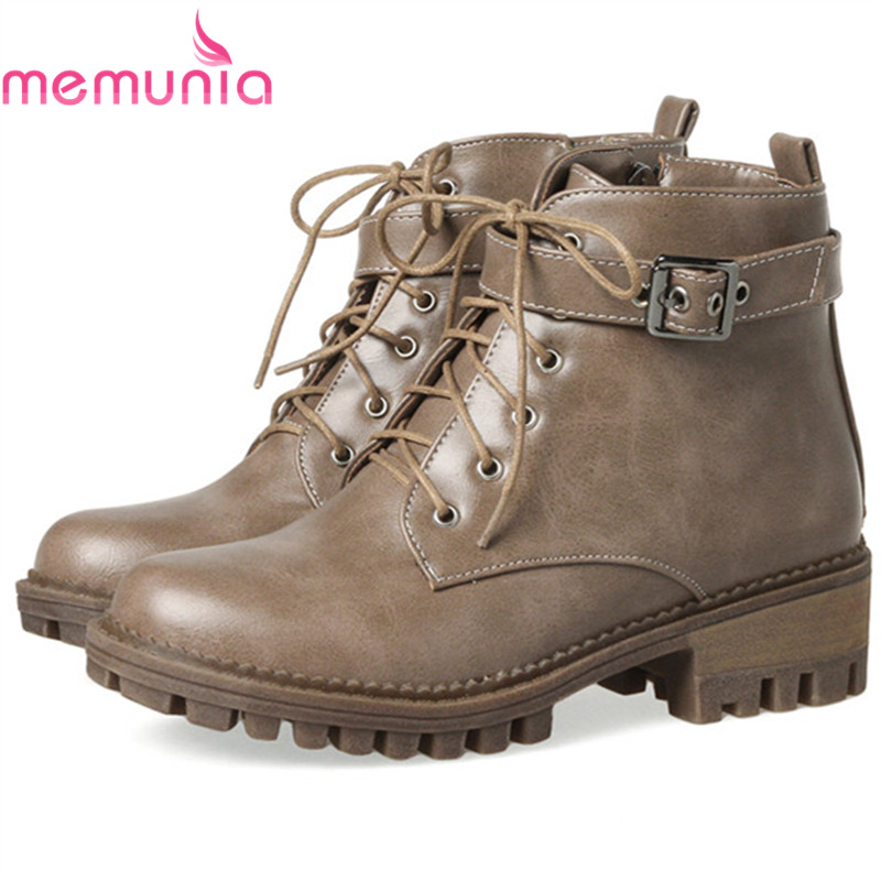 MEMUNIA Ankle boots for women in spring autumn boots female med heels shoes woman fashion boots PU zipper solid big size 34-44