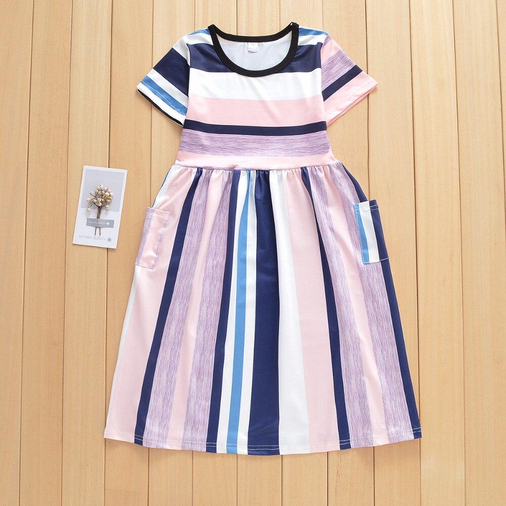 В европейском и американском стиле для девочек платье принцессы в полоску с короткими Платье с рукавами детская одежда для девочек Летние п...