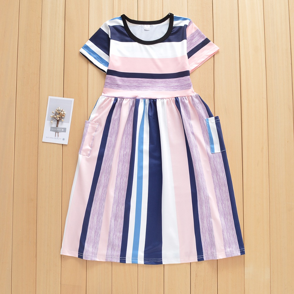 European and American girls striped princess dress with short sleeved dress Baby girl clothes girls dresses summer dress