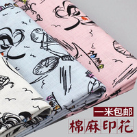 2018 Patchwork Tissus Shipping New Arts And Crafts Cartoon Printed Cotton Linen Pillow Cloth, Casual Dress, Shirt, Cloth Fabric