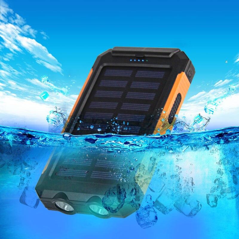 NEW Waterproof Solar Power Bank 10000mah Dual USB Li-Polymer Solar Battery Charger Travel Powerbank for all phone