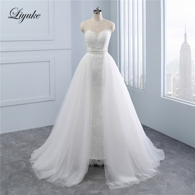 Liyuke High Quality Simple 2 In 1 Mermaid Bride Dress Appliques Lace ...
