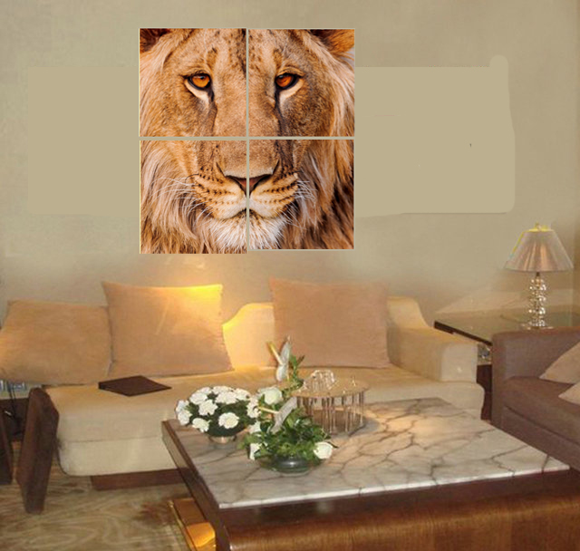 4 pcs Animal Lions Head wall Pictures Impresos en lienzo Cuadros - Decoración del hogar - foto 3