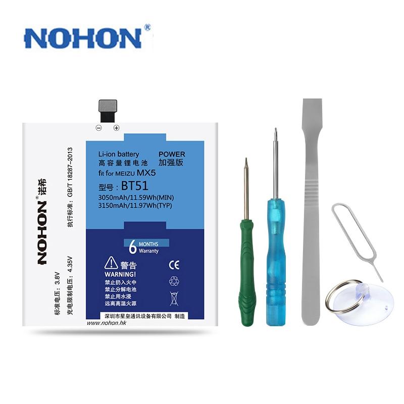 Original NOHON Battery For Meizu BT51 MX5 High Capacity 3050mAh 3150mAh Retail Package