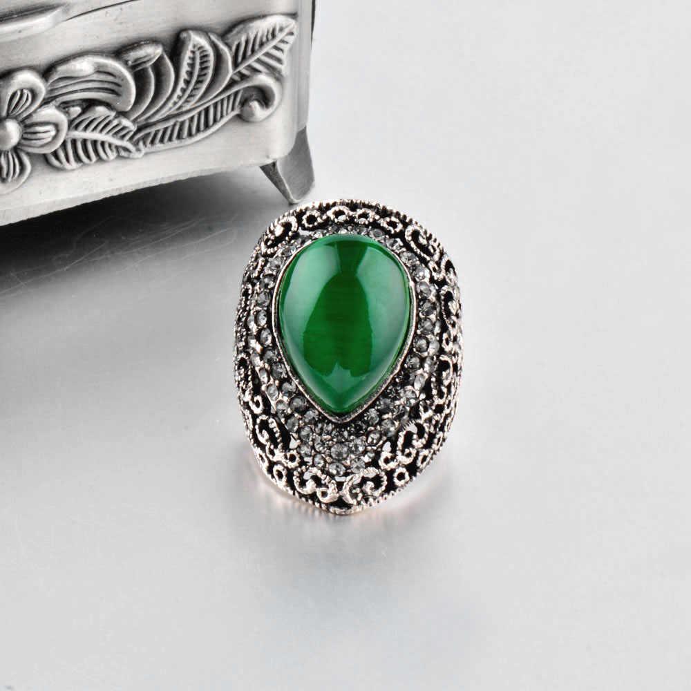 Sinleery Vrouwelijke Water Drop Shaped Green Opal Grote Ringen Antiek Zilver Kleur Vintage Sieraden Voor Wedding Party Jz152 Ssc