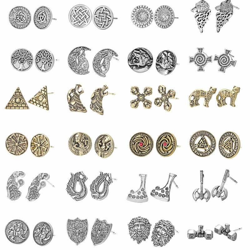 Серебряные Viking древних серьги в стиле ретро Для женщин заявление ювелирные изделия Кот Волк крест топор славянские панк винтажная серьга подарок мужчине