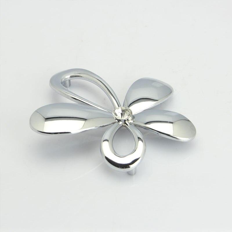 Silver Glass Drawer Pulls Crystal Cabinet Door Handle Rhinestone ...