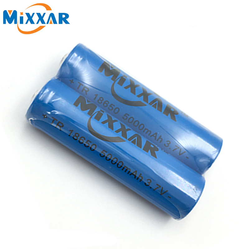 ZK5 2pcs/Lot The Strong Light Mixxar Flashlight Rechargeable Lithium Battery 3.7V 18650 Battery Li-ion Accumulator 5000mAh