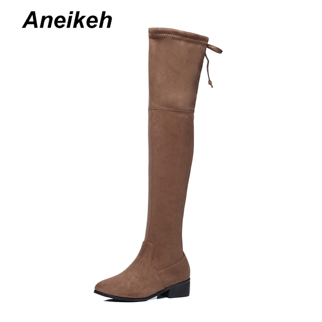 1f0f13c6606 Aneikeh Women Faux Suede Thigh High Boots Women Flat Comfort Sexy Slouchy  Over The Knee Boots Ladies Spring Autumn Shoes