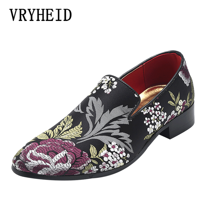 VRYHEID Men Shoes Luxury Brand Men Loafers Chinese style embroidery Dress Shoes Casual Flat Velvet For Men Party Driving Shoes in Men 39 s Casual Shoes from Shoes
