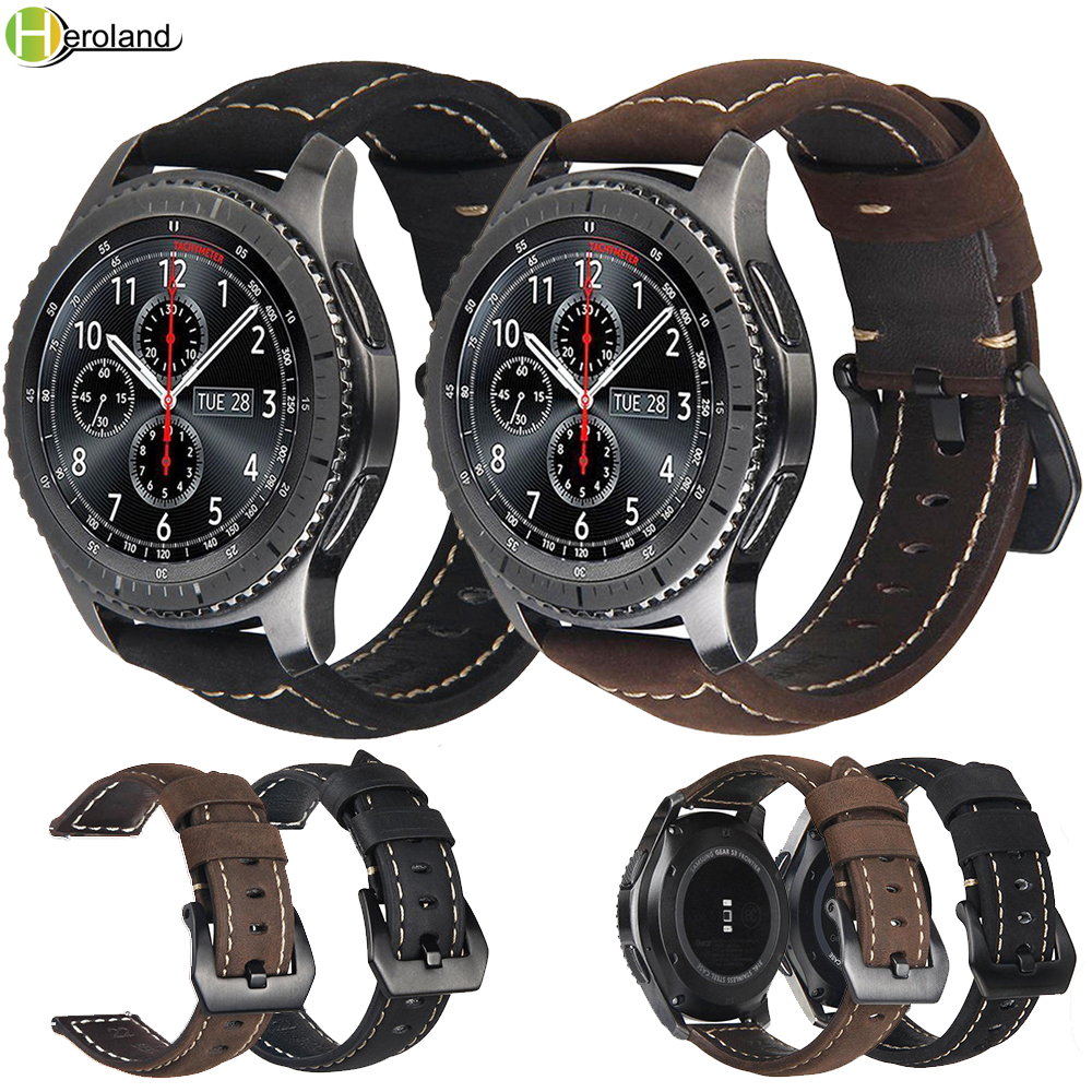 20mm 22mm Leather watch strap for Samsung Gear S3 Classic Frontier S2 sport Galaxy 42/46mm active for huawei gt 2 bracelet bands