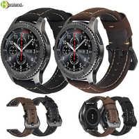 20mm 22mm skórzany pasek do zegarka Samsung Gear S3 klasyczny Frontier S2 sport Galaxy 42/46mm aktywny dla huawei gt 2 bransoletki zespoły