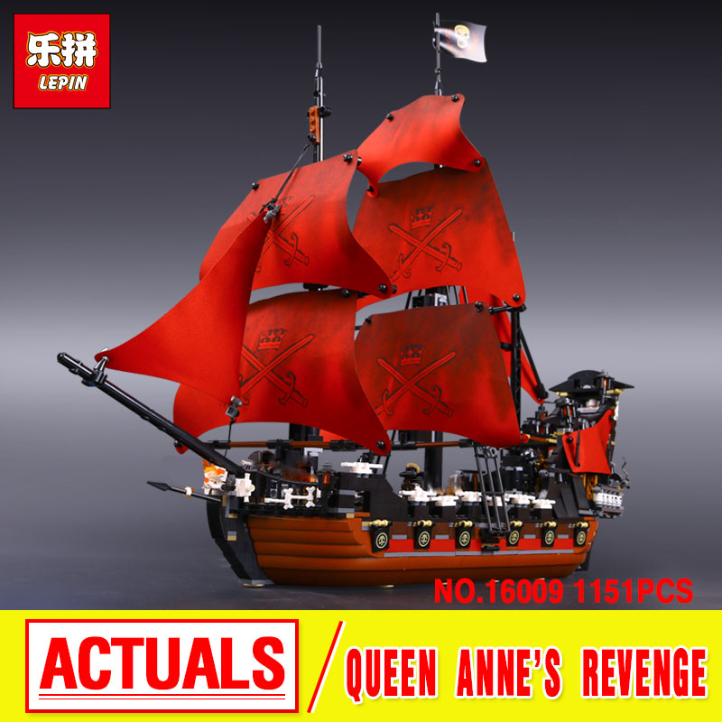 LEPIN 16009 Movie Series Queen Anne's revenge Pirates of the Caribbean Building Block Set Compatible with 4195 Educational Toy kazi 608pcs pirates armada flagship building blocks brinquedos caribbean warship sets the black pearl compatible with bricks