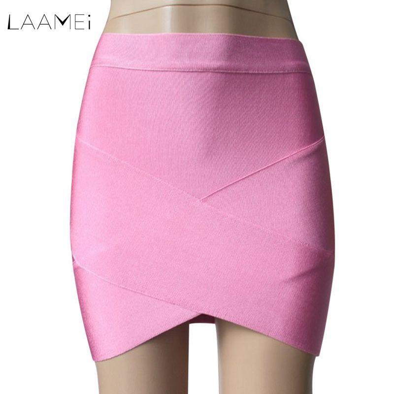 Laamei 2018 Womens Mini Irregular Elastic Bandage Skirts Female Sexy Slim Pencil Bodycon Slim Skirts Spring Summer Wholesales