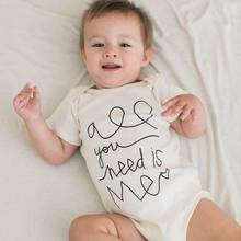 All You Need Is Me White Letters Newborn Toddler Infant Baby Cotton Onesies Short Sleeve Romper Jumpsuit Playsuit Baby Clothes(China)